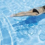 beautiful swimming pool with water stickers