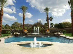 floating swimming pool fountain design ideas