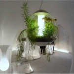 hanging garden design ideas with lamp