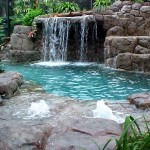 modern swimming pool fountain design ideas