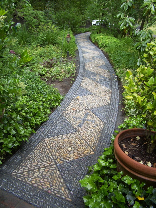 garden pathway design ideas mosaic pebbles garden pathway design ideas