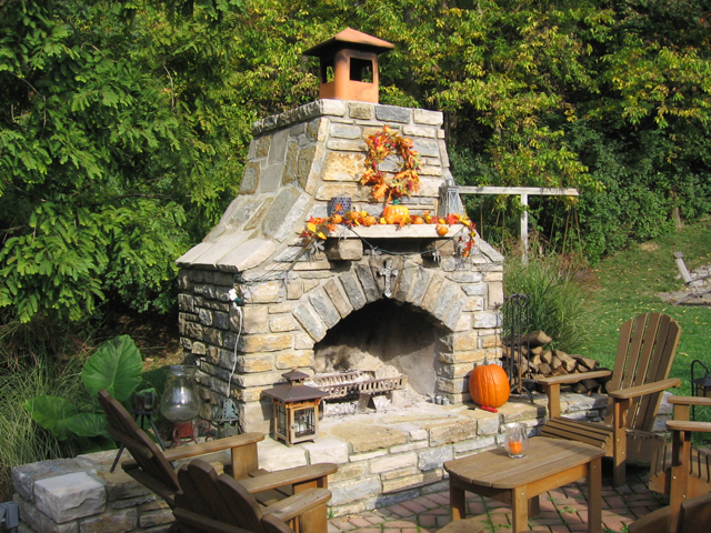 Outside Stone Fireplace Ideas: Stone Outdoor Fireplace Design Ideas