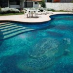 swimming pool decorating ideas with turtle mosaic glass