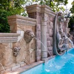 swimming pool fountain design ideas with sculpture