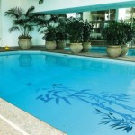 swimming pool with bamboo stickers