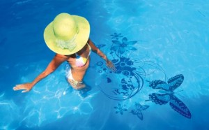 swimming pool with butterfly stickers