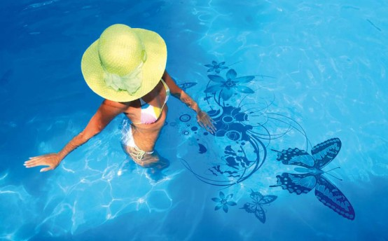 Swimming Pool Decorations Ideas with Original Stickers