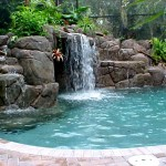 waterfall swimming pool fountain design ideas