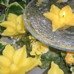 yellow flowers floating pool candles design ideas