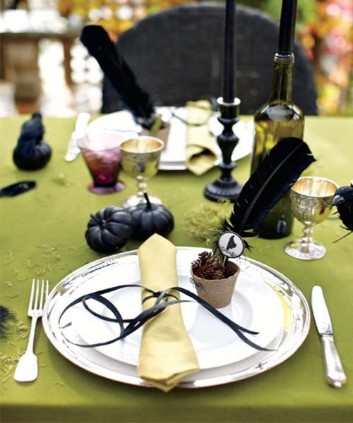 Black Halloween Party Decorations Black Halloween Dinner Table Party ...