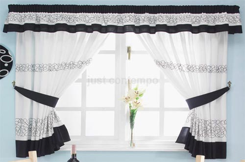 Kitchen Curtains Black White