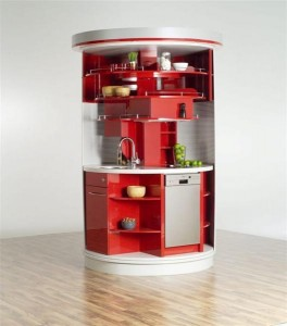 Red Circle Compact Kitchen Design