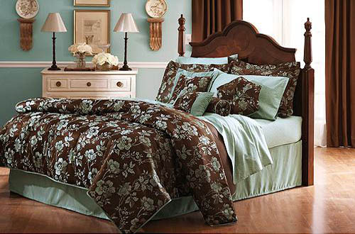 Teal And Brown Bedroom