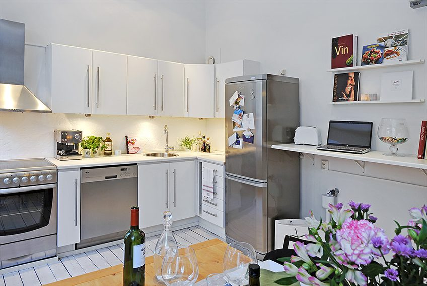 Small apartment kitchen design home trendy for Decorating small apartment kitchen ideas