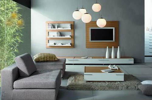 Living Room Decorating with Grey Wall