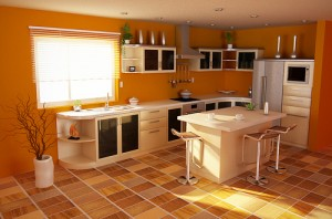 Orange Themed Kitchen Design