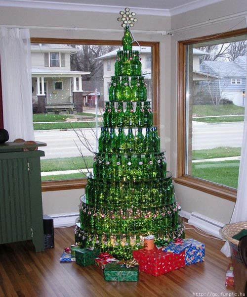 Unique Christmas Tree Made from Bottles