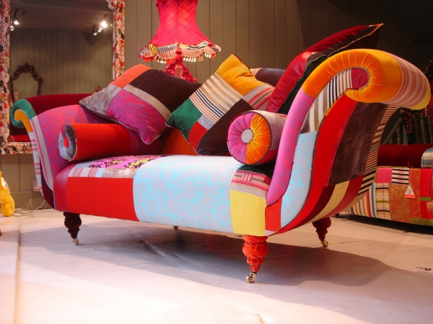 Furniture with multi colored fabric home trendy for Funky modern furniture