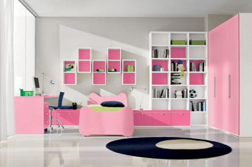 black white and pink bedroom decor
