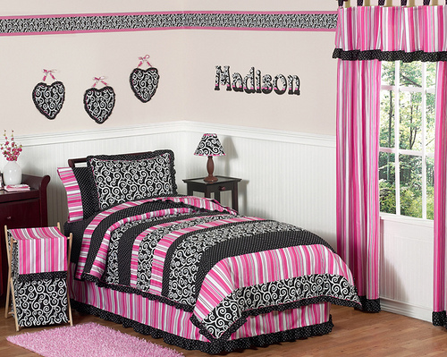 black white and pink bedroom