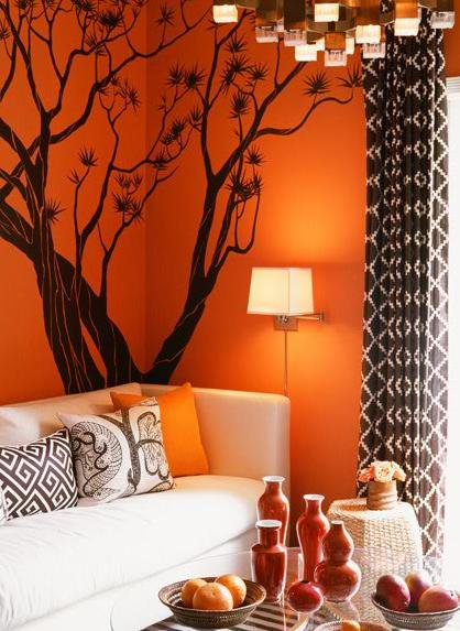 Brown and orange living room ideas home trendy for Orange and brown living room ideas