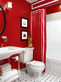 red bathroom decorations