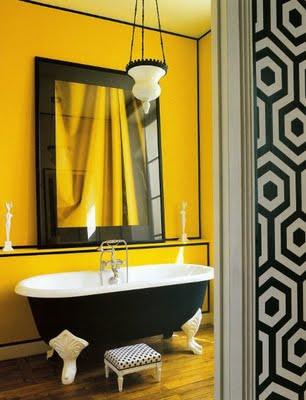 yellow black bathroom