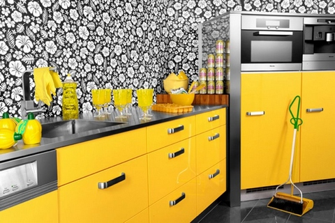 yellow black kitchen