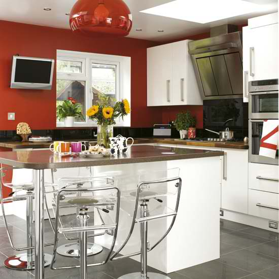 White Kitchen Red Walls: Red And White Kitchen Ideas