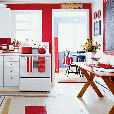 red and white kitchens