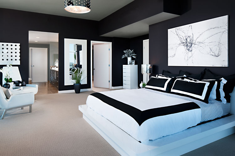 Black and white bedroom home trendy for Black and white vintage bedroom ideas