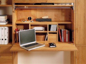 Wood Bookcase With Folding Desk