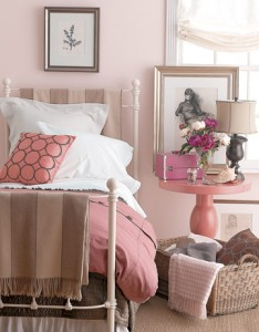 cream and pink bedding