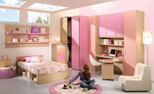 cream and pink bedroom