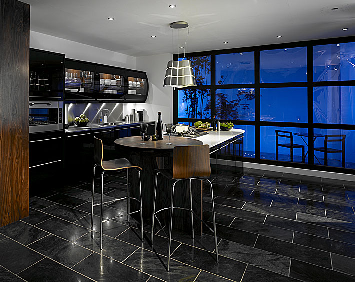 Dark kitchen home trendy for Kitchen cabinets with dark floors