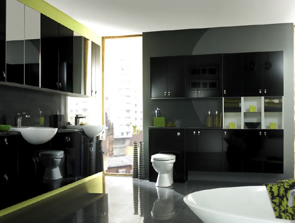 green and black bathroom design