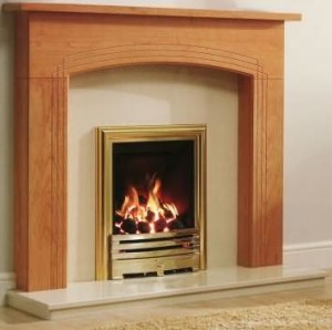 The wooden fireplace