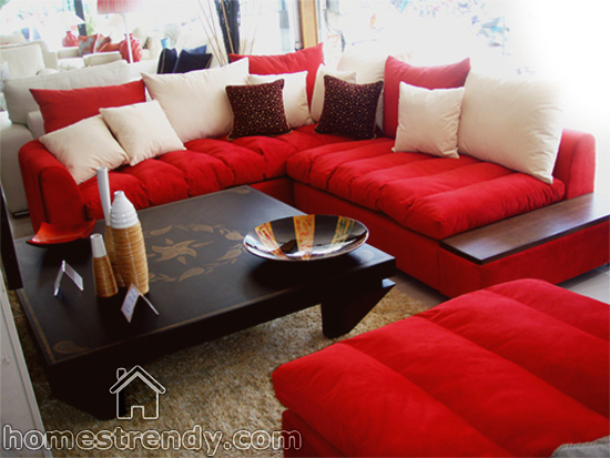 Living room colors for your red couch home trendy - Telas de tapizar sofas ...