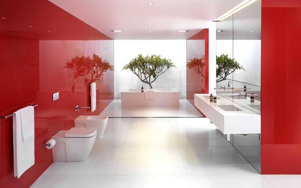 red-and-white bathrooms