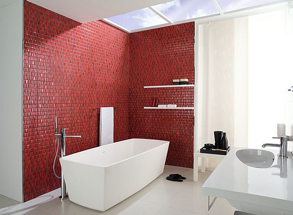 Contemporary Bathroom Design In Red And White Home Trendy