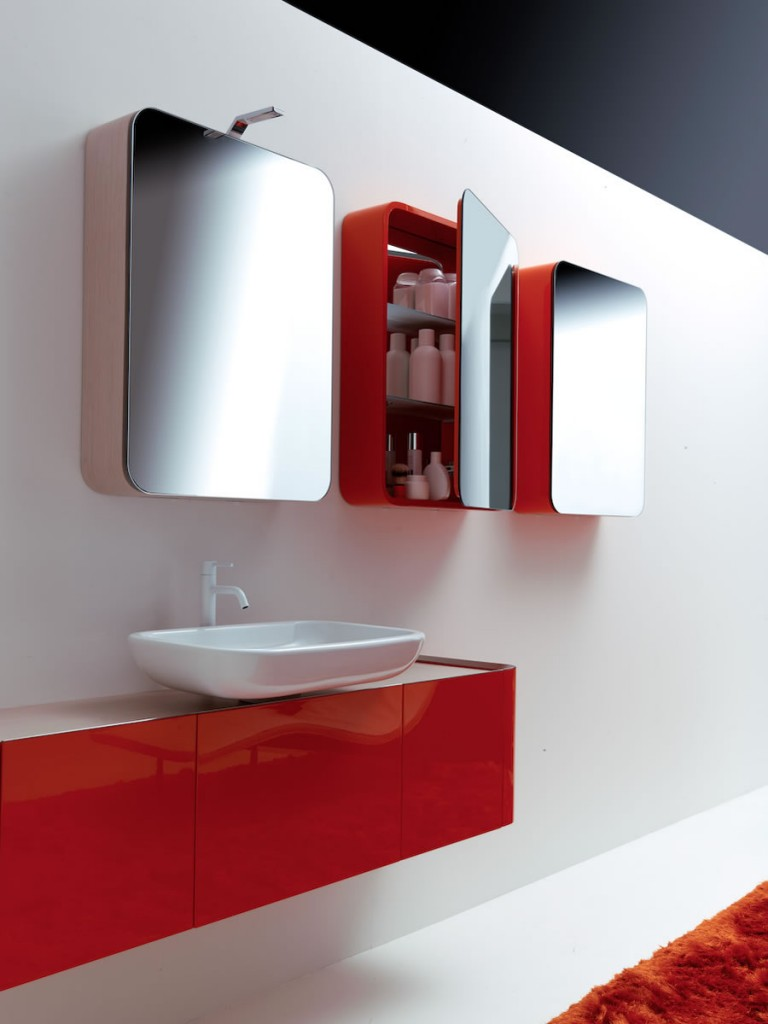red bathroom cabinets